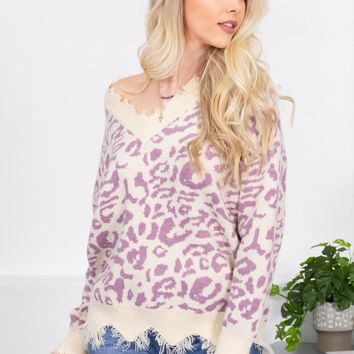 Bella Leopard V-Neck Distressed Sweater