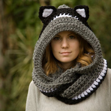 Scoodie with Cat Ears, Hooded Scarf with Ears, Cat Scarf, Crochet Cat Ear Hood, Striped Scoodie