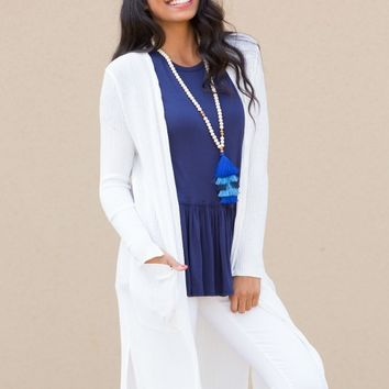 The Blythe Cardigan in White | Monday Dress Boutique