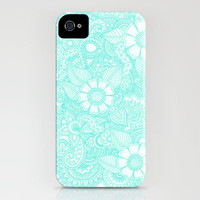 Henna Design - Aqua iPhone Case by haleyivers | Society6