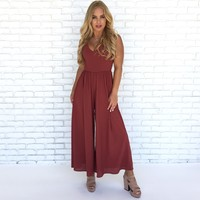 Day Trip Jumpsuit in Brick
