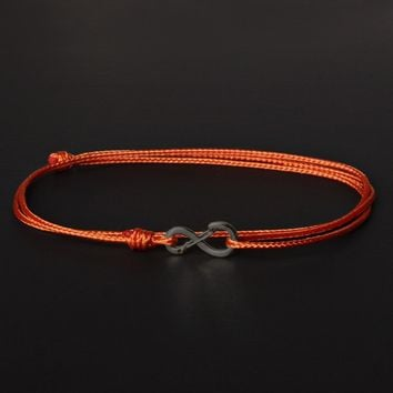 Infinity Bracelet - Burnt Orange cord men's bracelet with black clasp