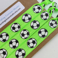 New! Neon green soccer hair ties, set of 3 soccer ball hair ties, football print FOE, futbol foldover elastic, ponytail holders, sports