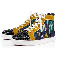 Best Online Sale Christian Louboutin Cl Lou Spikes Orlato Men's Flat Version Multi Cotton 18s Shoes 1180209cma3
