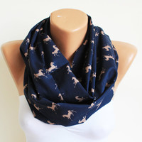 horse, horse scarf, animal scarf, scarves, infinity scarves,warm scarf,  winter scarf, dark blue scarf, scarves, style, animal scarf