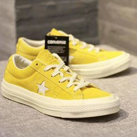 Converse One Star Women Men Couples Sneakers Leisure shoes Sneaker Sport Shoes Yellow I-CSXY
