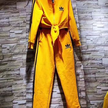 """""""Adidas"""" Woman's Leisure Fashion Letter Printing  Bow-Knot Zipper Hooded Spell Color Long Sleeve trousers Two-piece set Casual Wea"""