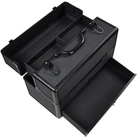 """14X7X9"""" Lockable Black ABS Aluminum Cosmetic Makeup Train Case W/ Drawer Trays"""