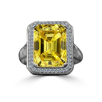12 CT. Emerald Cut important vintage micro pave halo Vintage Canary Cocktail/engagement/wedding Sterling Silver Ring, simulated diamond - Diamond Veneer 635R75006canary