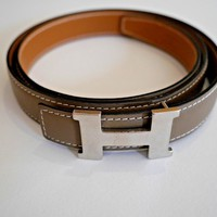 Authentic HERMES Reversible Tan Cafe Belt with silver palladium Buckle 24mm T 90