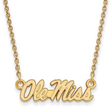 NCAA 14k Gold Plated Silver U of Mississippi Small Ole Miss Necklace