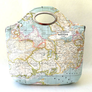 World Map Handbag Tote Purse, World Map Printed Fabric, Metal Purse Handle, Hobo