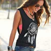 Women Dream catcher Printed Sleeveless Tops Crop Tank Sport Running Vest