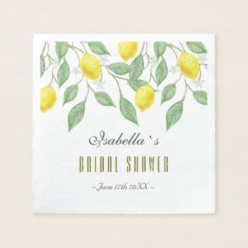 Modern Boho Watercolor Lemon Summer Bridal Shower Napkin