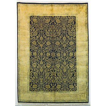 Oriental Sultanabad Wool Tribal Rug, Black/Gold
