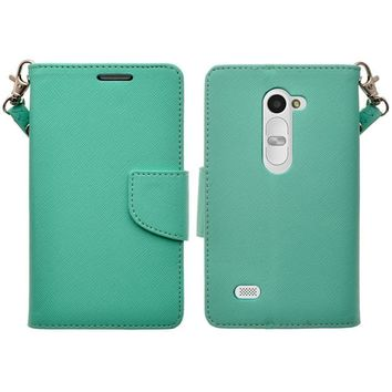LG Leon LTE Case | Lg Tribute 2 Case | LG Power | LG Sunset | LG Destiny | LG Risio Case, Wrist Strap Flip Folio [Kickstand Feature] Pu Leather Wallet Case with ID & Credit Card Slots - Teal