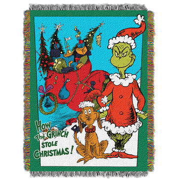 Dr. Suess Christmas Smile  Woven Tapestry Throw (48inx60in)