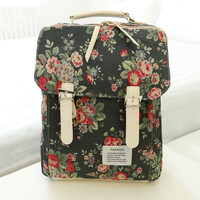 Vintage Floral Canvas Backpack Handbag
