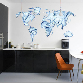Water World Map for housewares