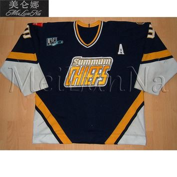 MeiLunNa Customize LNAH Saint Jean Summum Chiefs Hockey Jerseys Home Road White Blue Sewn On Any Name NO. Size