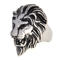 Dear Deer Stainless Steel Vintage Classic King Lion Ring