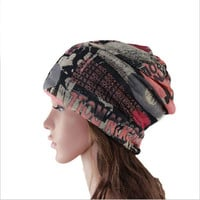 Multicolor Printed Knit Cap