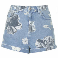 PETITE MOTO Bleach Floral Mom Shorts - Mid Stone