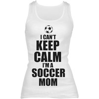 Keep Calm Soccer Mom: Custom Junior Fit Basic Bella 2x1 Rib Tank Top - Customized Girl