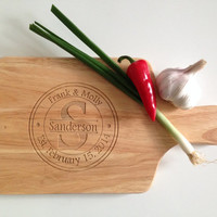Traditional Style Monogrammed Cutting Board - Wedding Gift - Married Monogram with Wedding Date