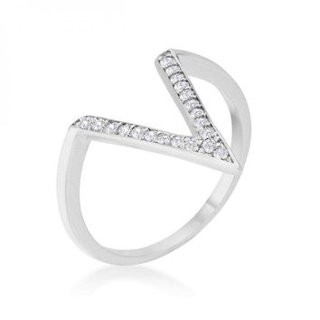 Michelle 0.2ct Cz Rhodium Delicate V-shape Ring (size: 06) R08464R-C01-06