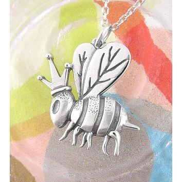 Quirky Queen Bee with Crown Necklace