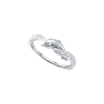10kt White Gold Womens Round Diamond Dolphin Ring .03 Cttw 55839