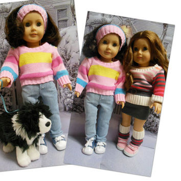 "American girl doll clothes ""Color Me Chilly""  18 inch doll outfit  winter sweater jeans headband ear warmer OOAK"
