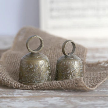 Vintage India Brass Bells, Set of 2 Brass Bells, Small Brass Bells, Etched Brass Bells, Bells for Bookstore, Bells for Door