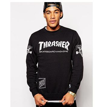 THRASHER Pattern Print Letter Loose Top Sweater Pullover Sweatshirt