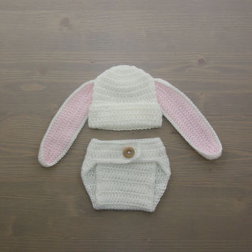 Crochet Bunny Costume, Crochet Bunny Set, Diaper Cover Set, Crochet Baby Hat, Newborn Photography Prop, Photo Prop, Baby Bunny Costume