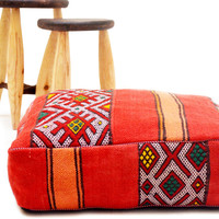 "Moroccan Cushion-Ottoman Kilim Pouf 24"" square Pouf ottoman pillow moroccan pillow handmade Kelim kilim Moroccan pillow, Tribal pillow"