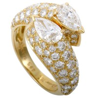 Cartier Diamond Pave Yellow Gold Bypass Band Ring