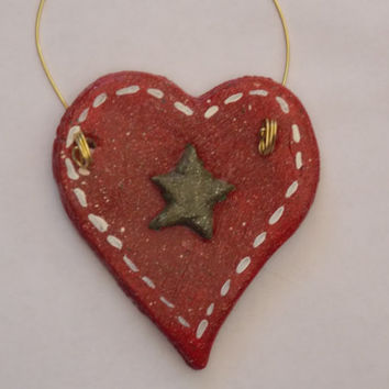 SET of 6 Christmas Ornament Handmade Green Star Red Heart Primitive Country Salt Dough Hand Painted