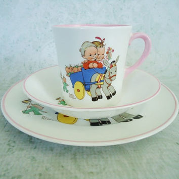 Vintage Shelley Bone China Trio - Shelley Mabel Lucie Attwell Child Trio Tea Set