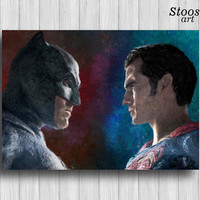 batman vs superman poster superhero print dc comics batman gifts