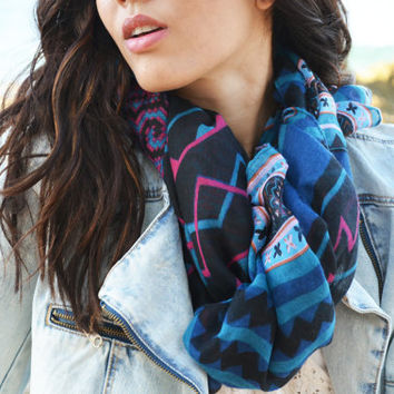 SALE Chevron Scarf Indie  Bohemian Accessories Blue Women's Boho Scarf  Cowl Neck Warmer Hoodie Floral Loop Scarf Light