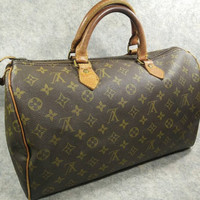 Authentic Louis Vuitton Speedy 35 Monogram Canvas Vintage  Handbag 1980s Eclair Zip, No Date Code, Canvas, Cowhide Good Condition to useful