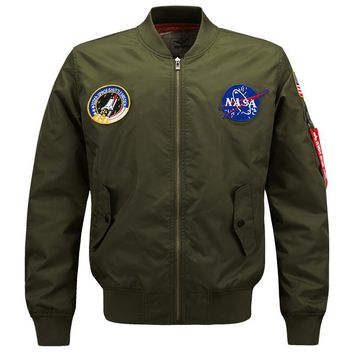 6XL NASA Bomber Jacket Men 2017 Ma-1 Flight Jacket Pilot Air Force Male MA1 Lightweight Military Jackets Coats Windbreaker