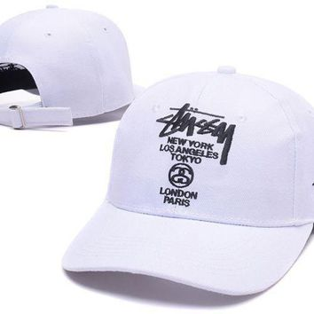 Stussy Embroidered Summer Baseball Cap Hats White