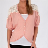 Love By Design Juniors Dolman Cardigan with Lace Yoke at Dry Goods