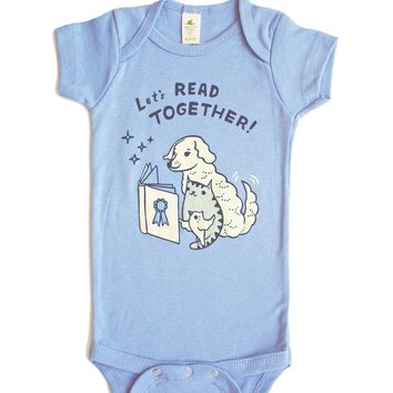 Let's Read Together Onesuit -- Bookish Organic Baby Onesuit (Blue)