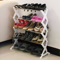 5 Tiers Stackable Stainless Steel Shoes Rack Stand Shoe Storage Shelf Shelves Organizer Racks Holders Home Decor