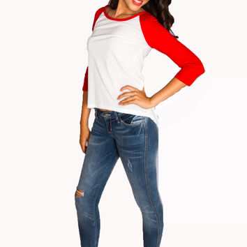 High-Low Baseball Raglan Top Red