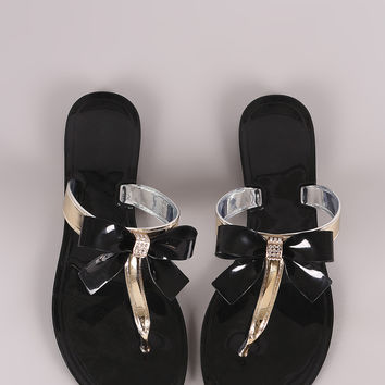 Rhinestone Accent Bow Jelly Thong Flat Sandal